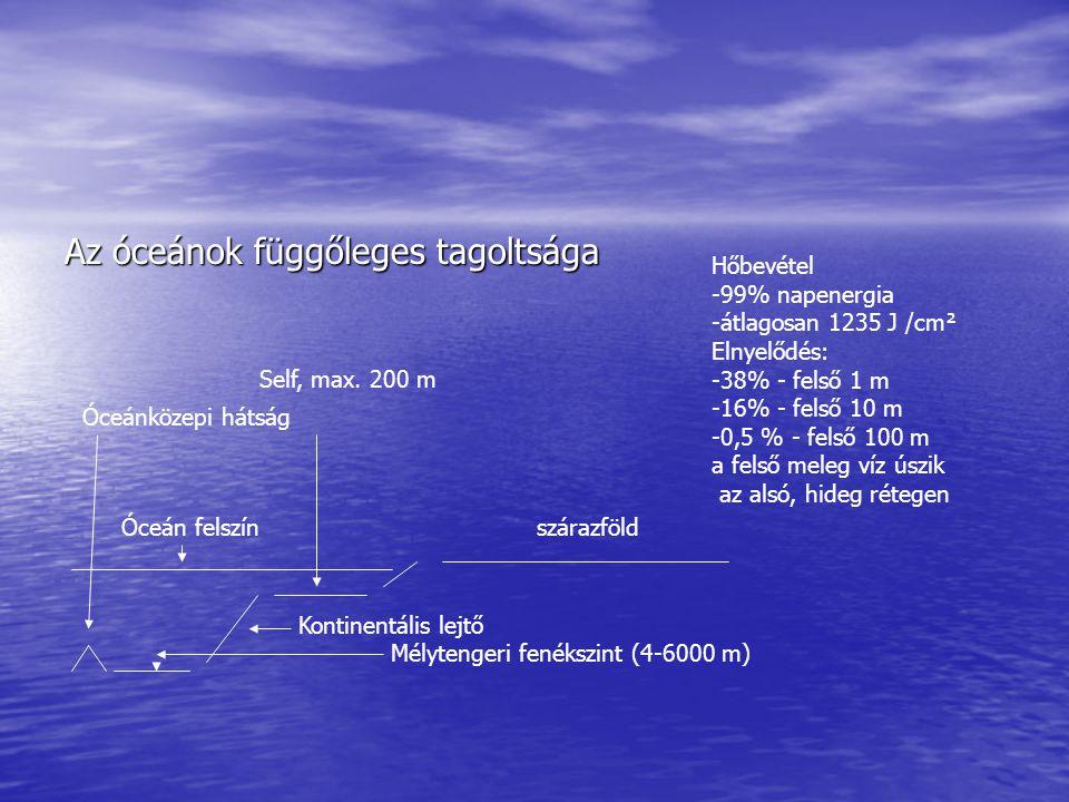 Az óceánok hőkicserélődésében fontos szerepet játszik: -hullámzás-sótartalom A meleg, párolgó víz egyre sósabbá válik, sűrűség nő A nagyobb fajsúlyú víz lesüllyed, Majd szétoszlik, Helyén feláramlás kezdődik TERMOHALINÁS KONVEKCIÓ Hőleadás: párolgással Horizontális hőcsere: áramlásrendszerek A földrajzi szélesség növekedésével: -csökken az átlaghőmérséklet -az eltérő felmelegedési sebesség miatt 1-2 hónappal később éri el a max.-t, mint a szárazföld A sótartalom miatt 0 °C alatt fagy a tengervíz.