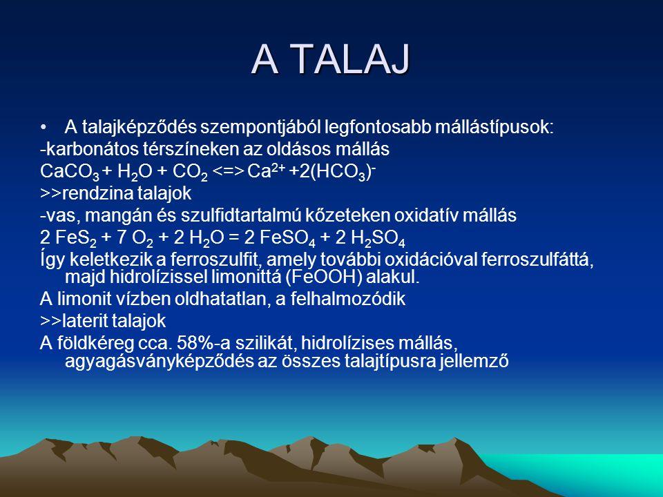A TALAJ A talajképződés szempontjából legfontosabb mállástípusok: -karbonátos térszíneken az oldásos mállás CaCO 3 + H 2 O + CO 2 Ca 2+ +2(HCO 3 ) - >