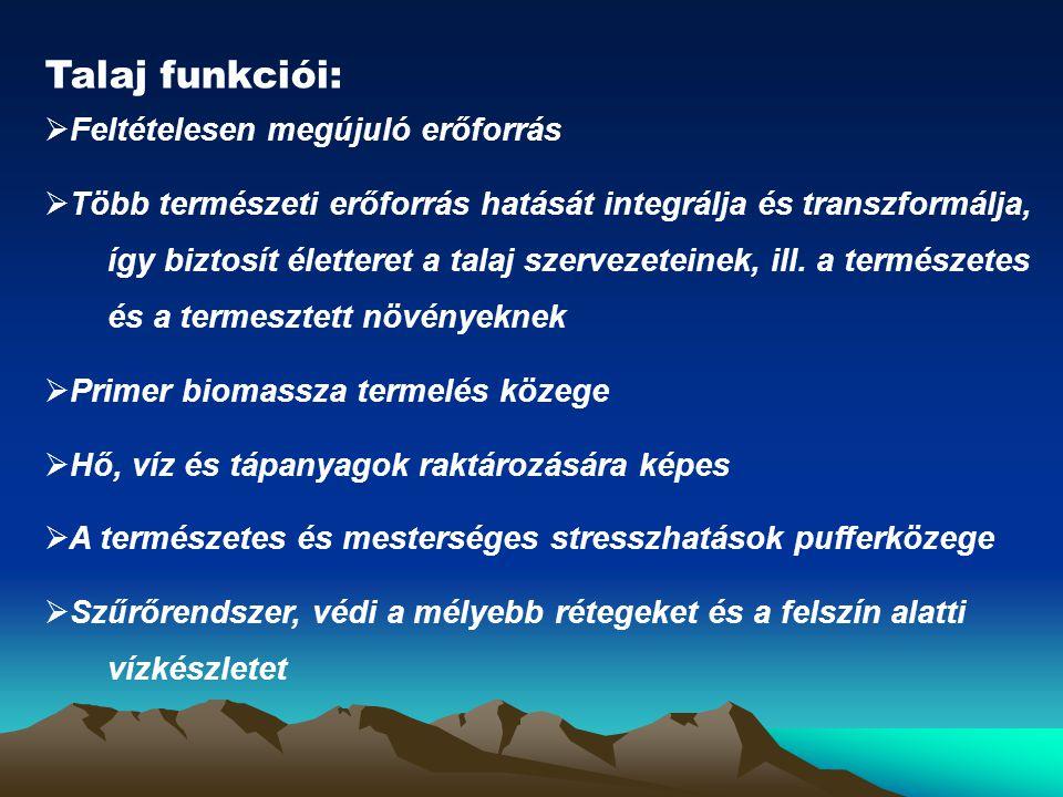 Talaj funkciói:  Feltételesen megújuló erőforrás  Több természeti erőforrás hatását integrálja és transzformálja, így biztosít életteret a talaj sze