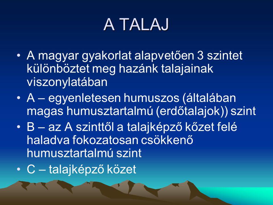 A TALAJ Talajképző tényezők (Dokucsajev) Klíma: A- Azonos klímafeltételek mellett más-más alapkőzeten azonos jellegű talajok B- Azonos alapkőzeten más-más klímazónában különböző típusú talajok Legfontosabb klímaelem a csapadék, amely a talajon belüli áthelyeződés mozgatója, mállás elengedhetetlen feltétele.