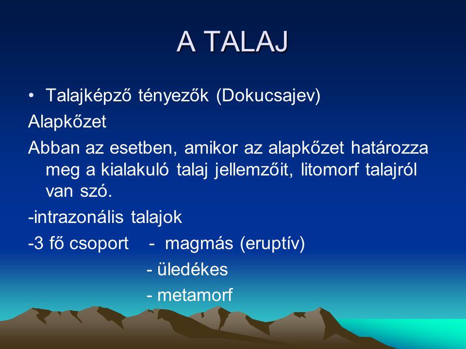 A TALAJ Talajképző tényezők (Dokucsajev) Alapkőzet Abban az esetben, amikor az alapkőzet határozza meg a kialakuló talaj jellemzőit, litomorf talajról