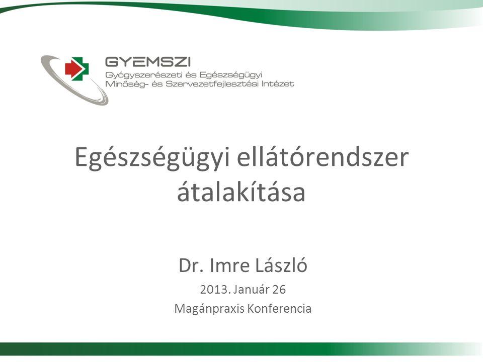Egészségügyi ellátórendszer átalakítása Dr. Imre László 2013. Január 26 Magánpraxis Konferencia