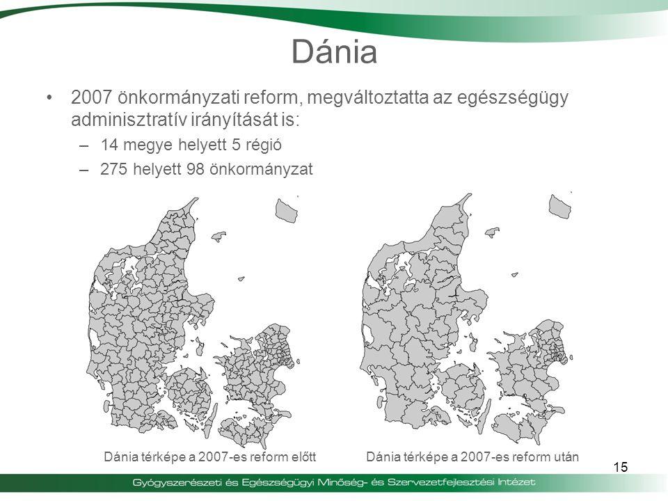 Dánia 2007 önkormányzati reform, megváltoztatta az egészségügy adminisztratív irányítását is: –14 megye helyett 5 régió –275 helyett 98 önkormányzat 1