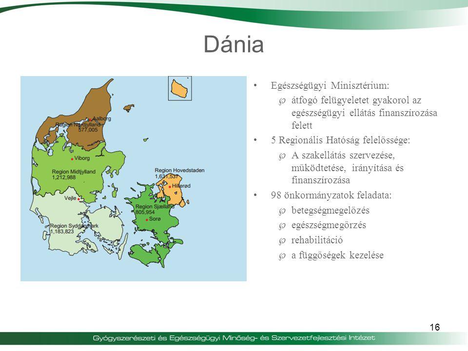 Dánia Egészségügyi Minisztérium:  átfogó felügyeletet gyakorol az egészségügyi ellátás finanszírozása felett 5 Regionális Hatóság felelőssége:  A sz