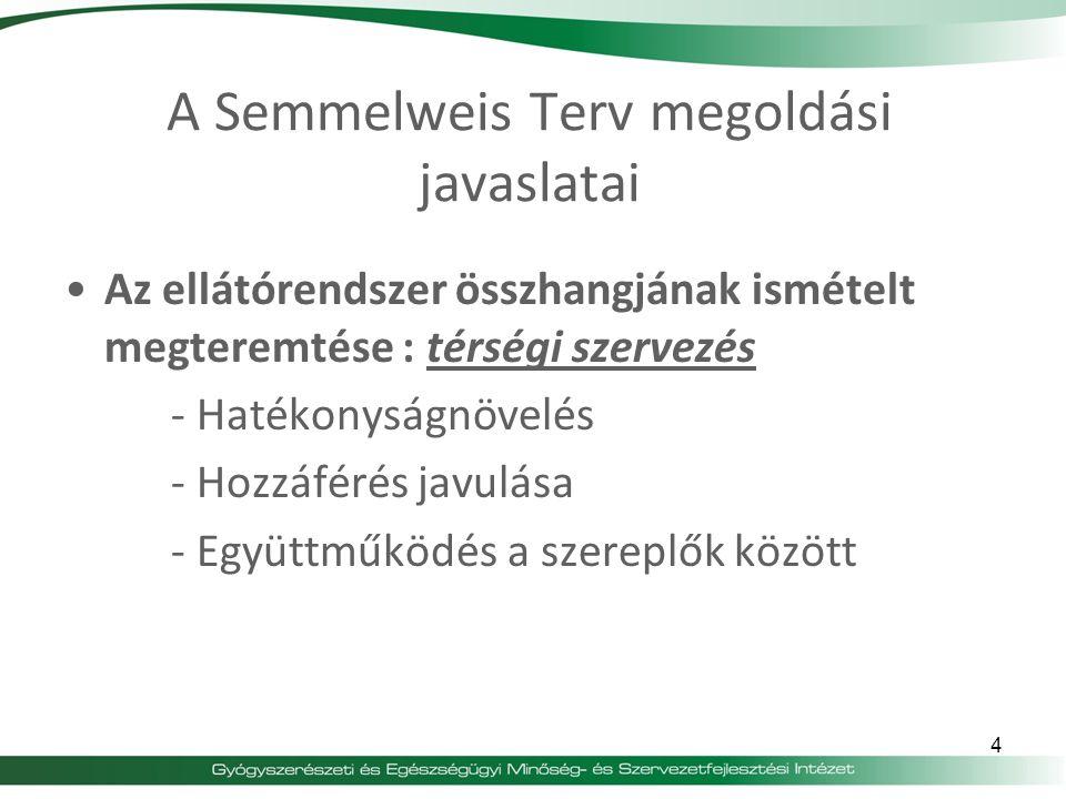A Semmelweis Terv megoldási javaslatai Az ellátórendszer összhangjának ismételt megteremtése : térségi szervezés - Hatékonyságnövelés - Hozzáférés jav
