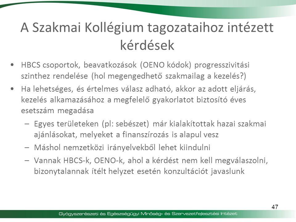 A Szakmai Kollégium tagozataihoz intézett kérdések HBCS csoportok, beavatkozások (OENO kódok) progresszivitási szinthez rendelése (hol megengedhető sz