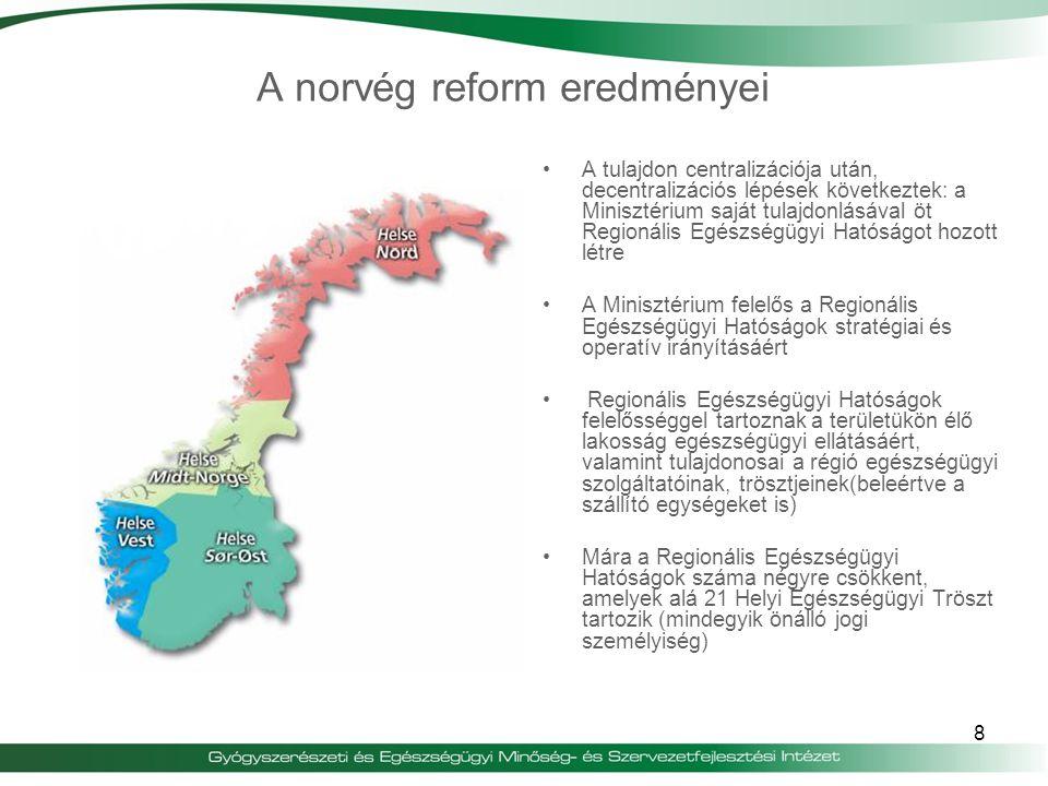 8 A tulajdon centralizációja után, decentralizációs lépések következtek: a Minisztérium saját tulajdonlásával öt Regionális Egészségügyi Hatóságot hoz