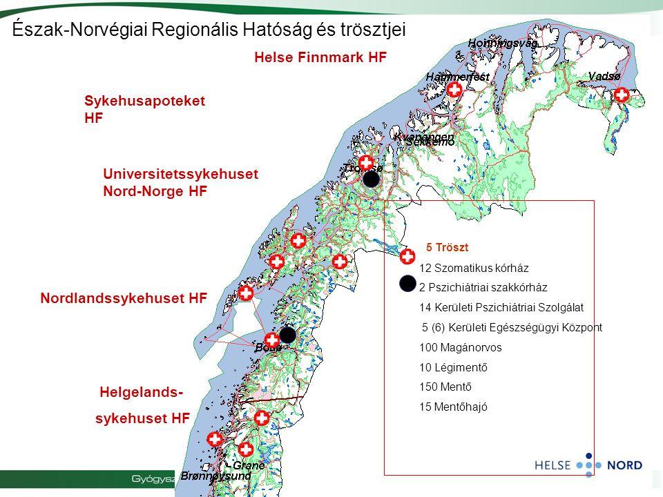 Észak-Norvégiai Regionális Hatóság és trösztjei 5 Tröszt 12 Szomatikus kórház 2 Pszichiátriai szakkórház 14 Kerületi Pszichiátriai Szolgálat 5 (6) Ker