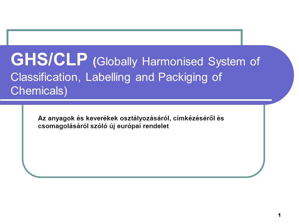 1 GHS/CLP (Globally Harmonised System of Classification, Labelling and Packiging of Chemicals) Az anyagok és keverékek osztályozásáról, címkézéséről és csomagolásáról szóló új európai rendelet