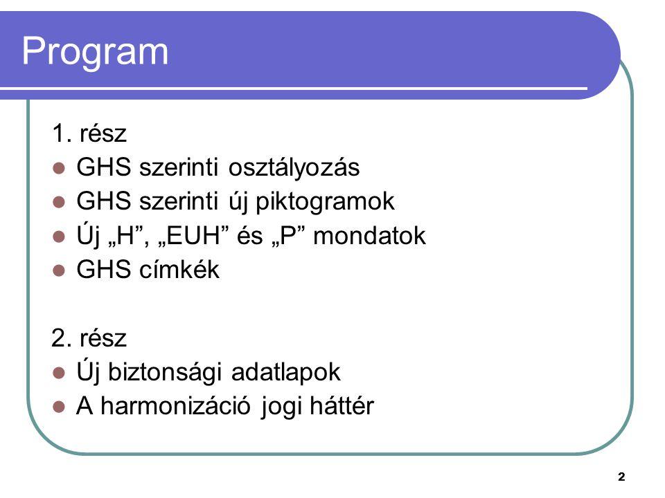 """2 Program 1. rész GHS szerinti osztályozás GHS szerinti új piktogramok Új """"H"""", """"EUH"""" és """"P"""" mondatok GHS címkék 2. rész Új biztonsági adatlapok A harm"""