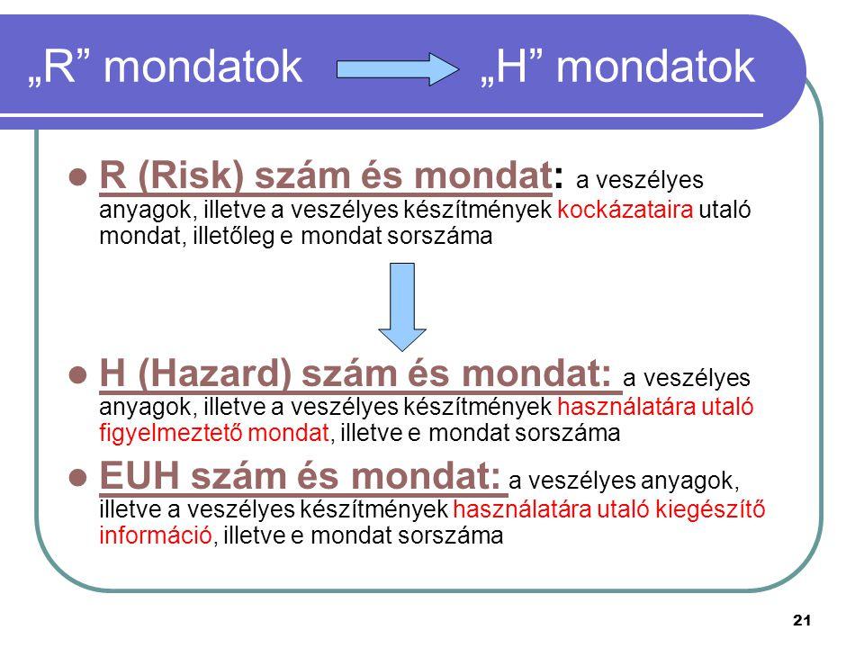 """21 """"R mondatok """"H mondatok R (Risk) szám és mondat: a veszélyes anyagok, illetve a veszélyes készítmények kockázataira utaló mondat, illetőleg e mondat sorszáma R (Risk) szám és mondat H (Hazard) szám és mondat: a veszélyes anyagok, illetve a veszélyes készítmények használatára utaló figyelmeztető mondat, illetve e mondat sorszáma H (Hazard) szám és mondat: EUH szám és mondat: a veszélyes anyagok, illetve a veszélyes készítmények használatára utaló kiegészítő információ, illetve e mondat sorszáma EUH szám és mondat:"""