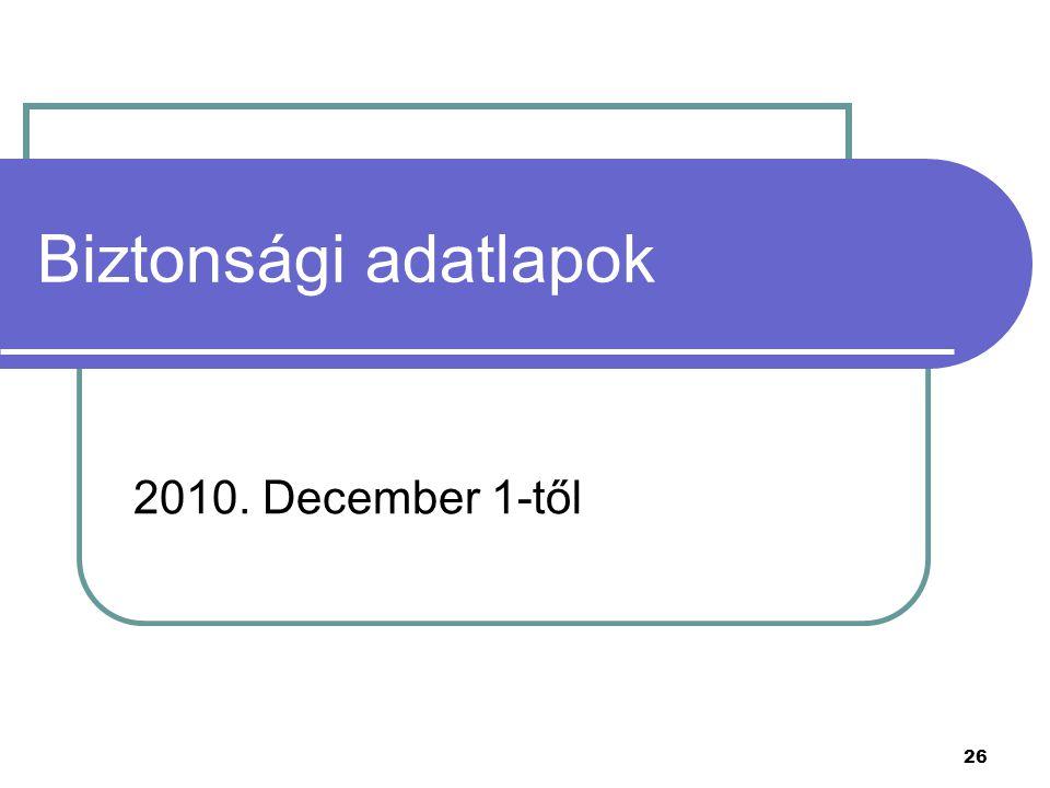 26 Biztonsági adatlapok 2010. December 1-től