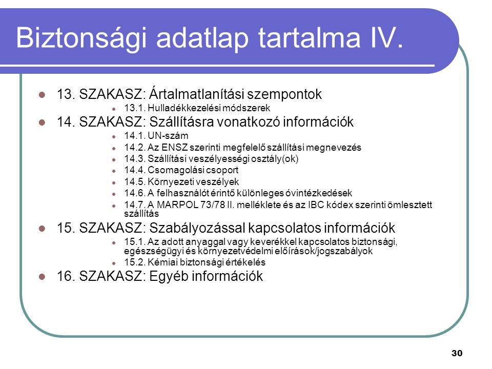 30 Biztonsági adatlap tartalma IV. 13. SZAKASZ: Ártalmatlanítási szempontok 13.1. Hulladékkezelési módszerek 14. SZAKASZ: Szállításra vonatkozó inform