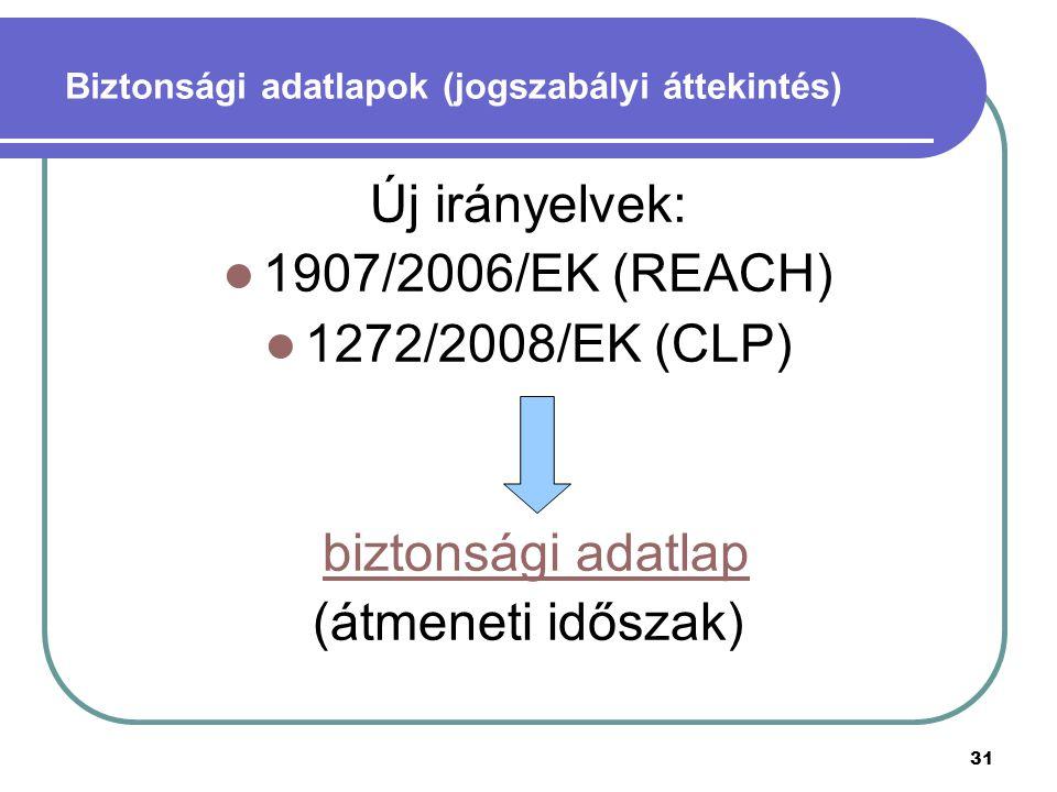 31 Biztonsági adatlapok (jogszabályi áttekintés) Új irányelvek: 1907/2006/EK (REACH) 1272/2008/EK (CLP) biztonsági adatlap (átmeneti időszak)