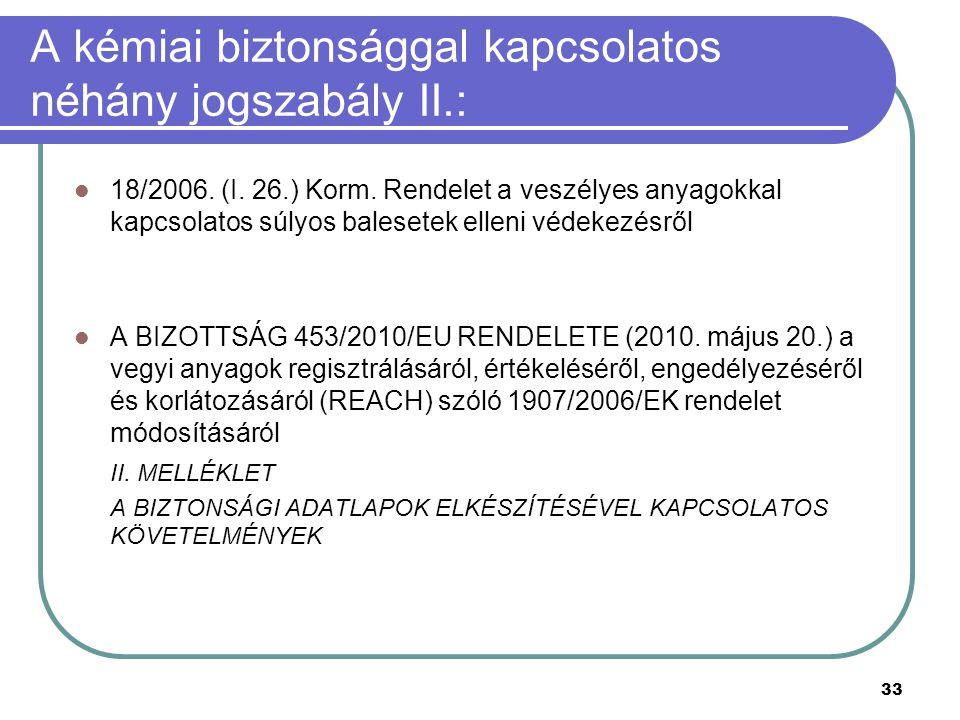 33 A kémiai biztonsággal kapcsolatos néhány jogszabály II.: 18/2006.