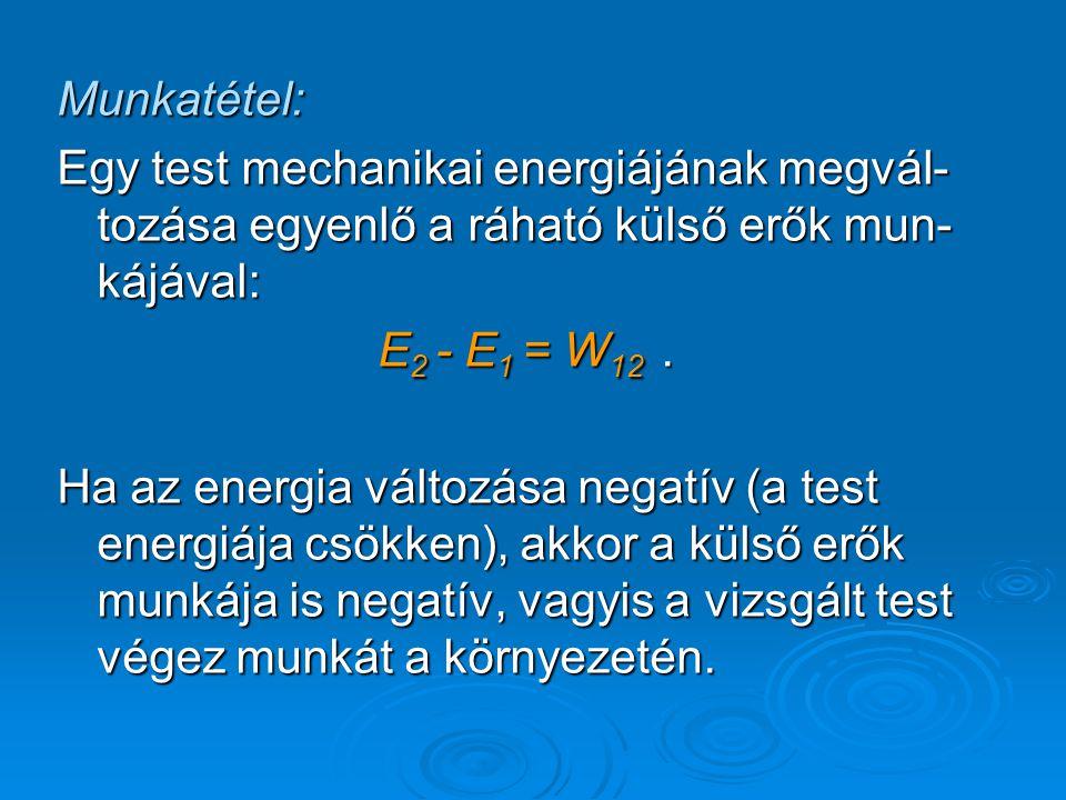 Munkatétel: Egy test mechanikai energiájának megvál- tozása egyenlő a ráható külső erők mun- kájával: E 2 - E 1 = W 12. Ha az energia változása negatí