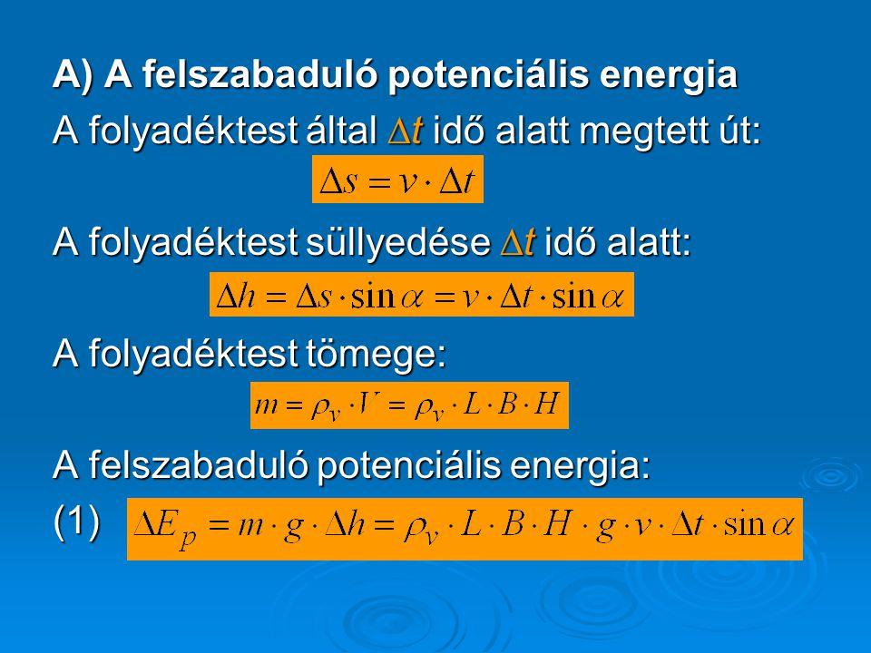 A) A felszabaduló potenciális energia A folyadéktest által ∆t idő alatt megtett út: A folyadéktest süllyedése ∆t idő alatt: A folyadéktest tömege: A f