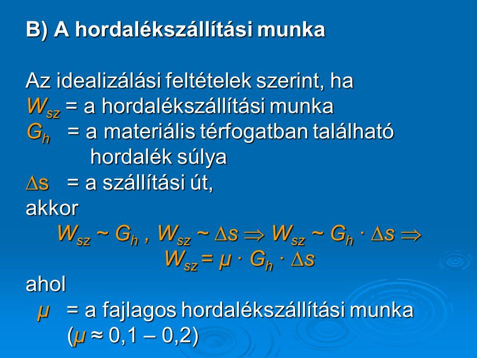 B) A hordalékszállítási munka Az idealizálási feltételek szerint, ha W sz = a hordalékszállítási munka G h = a materiális térfogatban található hordal