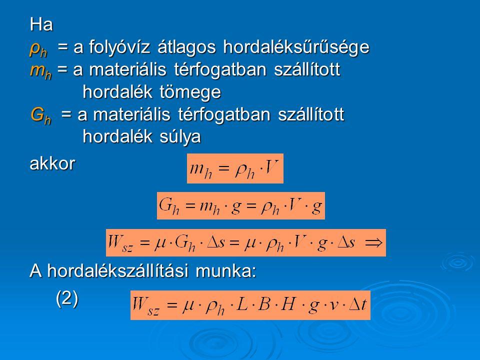 Ha ρ h = a folyóvíz átlagos hordaléksűrűsége m h = a materiális térfogatban szállított hordalék tömege hordalék tömege G h = a materiális térfogatban