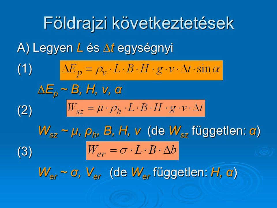 Földrajzi következtetések A) Legyen L és ∆t egységnyi (1) ∆E p ~ B, H, v, α ∆E p ~ B, H, v, α(2) W sz ~ μ, ρ h, B, H, v (de W sz független: α) W sz ~