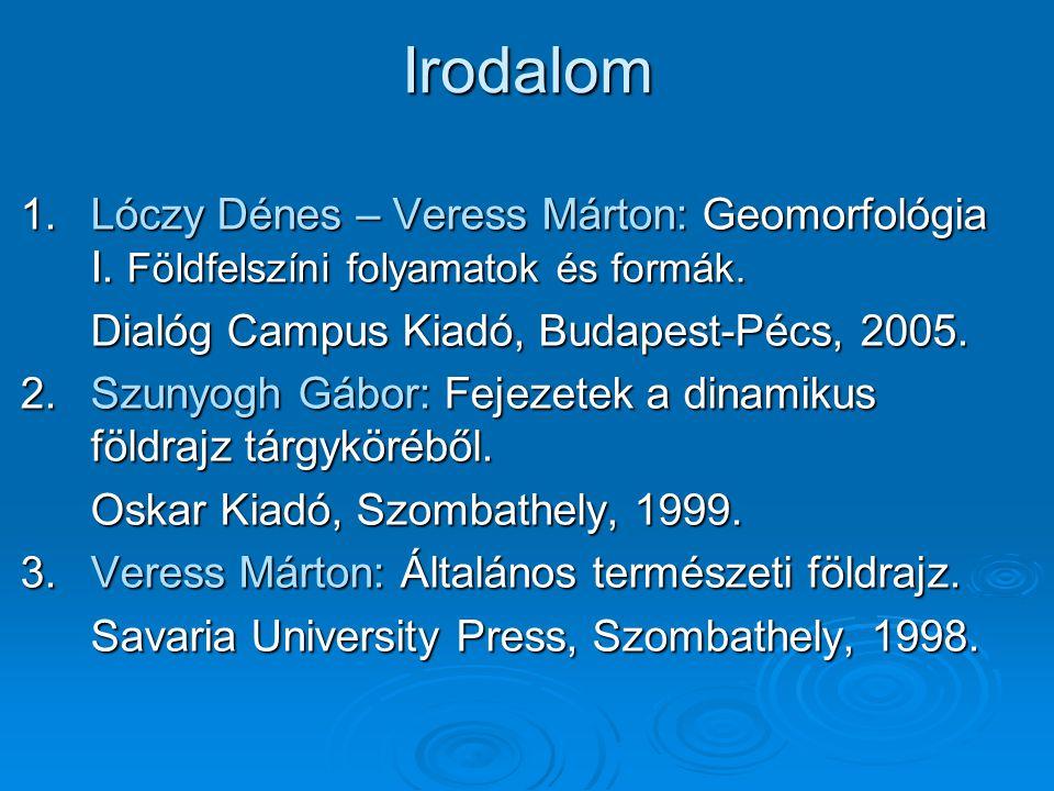 Irodalom 1.Lóczy Dénes – Veress Márton: Geomorfológia I. Földfelszíni folyamatok és formák. Dialóg Campus Kiadó, Budapest-Pécs, 2005. 2.Szunyogh Gábor