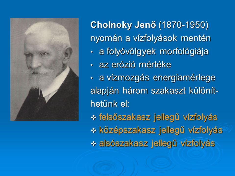 Cholnoky Jenő (1870-1950) nyomán a vízfolyások mentén a folyóvölgyek morfológiája a folyóvölgyek morfológiája az erózió mértéke az erózió mértéke a ví