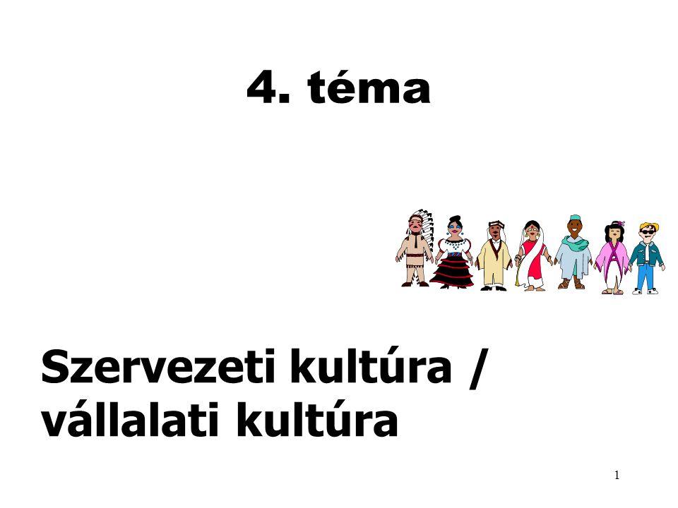 1 4. téma Szervezeti kultúra / vállalati kultúra