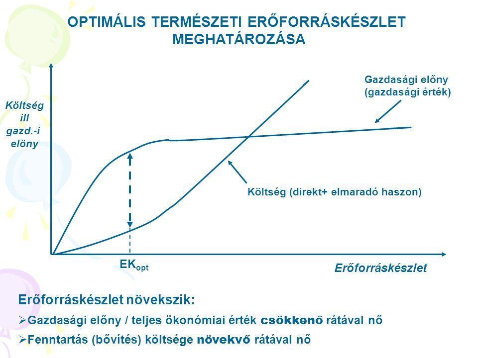 OPTIMÁLIS TERMÉSZETI ERŐFORRÁSKÉSZLET MEGHATÁROZÁSA Erőforráskészlet Költség ill gazd.-i előny Költség (direkt+ elmaradó haszon) Gazdasági előny (gazd