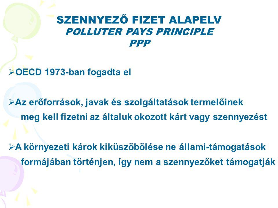 SZENNYEZŐ FIZET ALAPELV POLLUTER PAYS PRINCIPLE PPP  OECD 1973-ban fogadta el  Az erőforrások, javak és szolgáltatások termelőinek meg kell fizetni