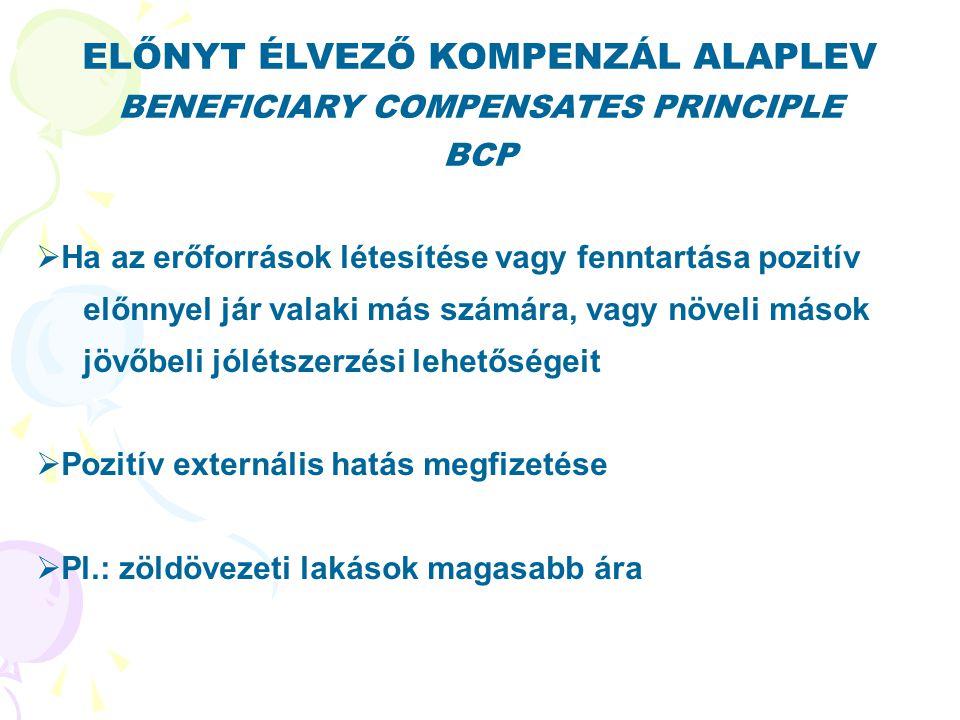 ELŐNYT ÉLVEZŐ KOMPENZÁL ALAPLEV BENEFICIARY COMPENSATES PRINCIPLE BCP  Ha az erőforrások létesítése vagy fenntartása pozitív előnnyel jár valaki más