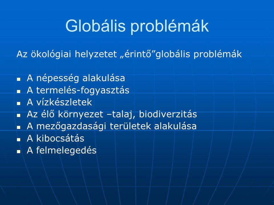 """Az ökológiai helyzetet """"érintő""""globális problémák A népesség alakulása A termelés-fogyasztás A vízkészletek Az élő környezet –talaj, biodiverzitás A m"""
