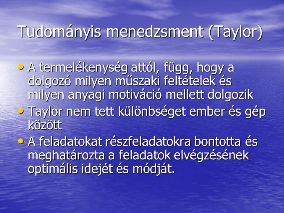 Tudományis menedzsment (Taylor) A termelékenység attól, függ, hogy a dolgozó milyen műszaki feltételek és milyen anyagi motiváció mellett dolgozik A termelékenység attól, függ, hogy a dolgozó milyen műszaki feltételek és milyen anyagi motiváció mellett dolgozik Taylor nem tett különbséget ember és gép között Taylor nem tett különbséget ember és gép között A feladatokat részfeladatokra bontotta és meghatározta a feladatok elvégzésének optimális idejét és módját.