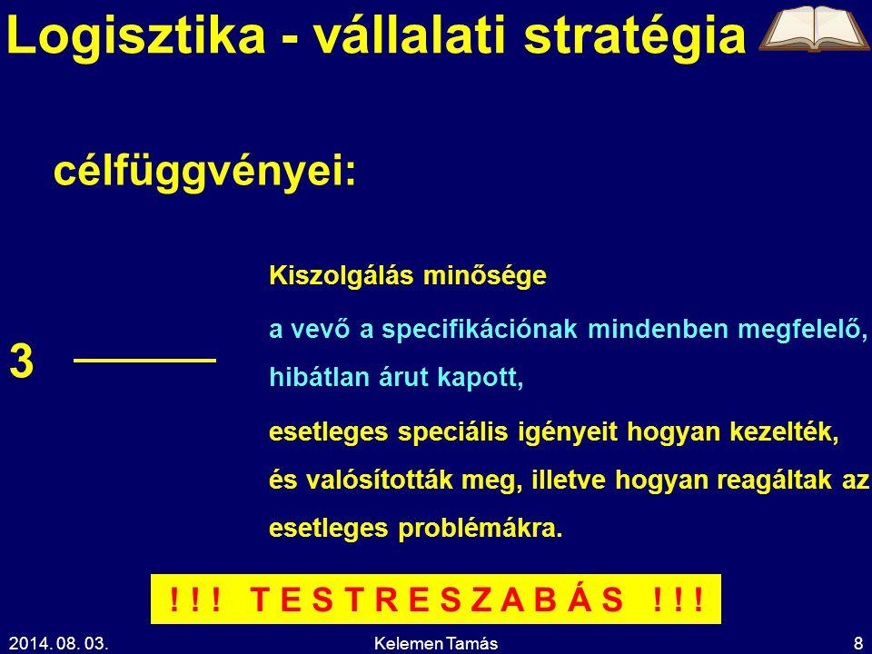 2014.08. 03.Kelemen Tamás9 Logisztika - vállalati stratégia Hol az optimum.