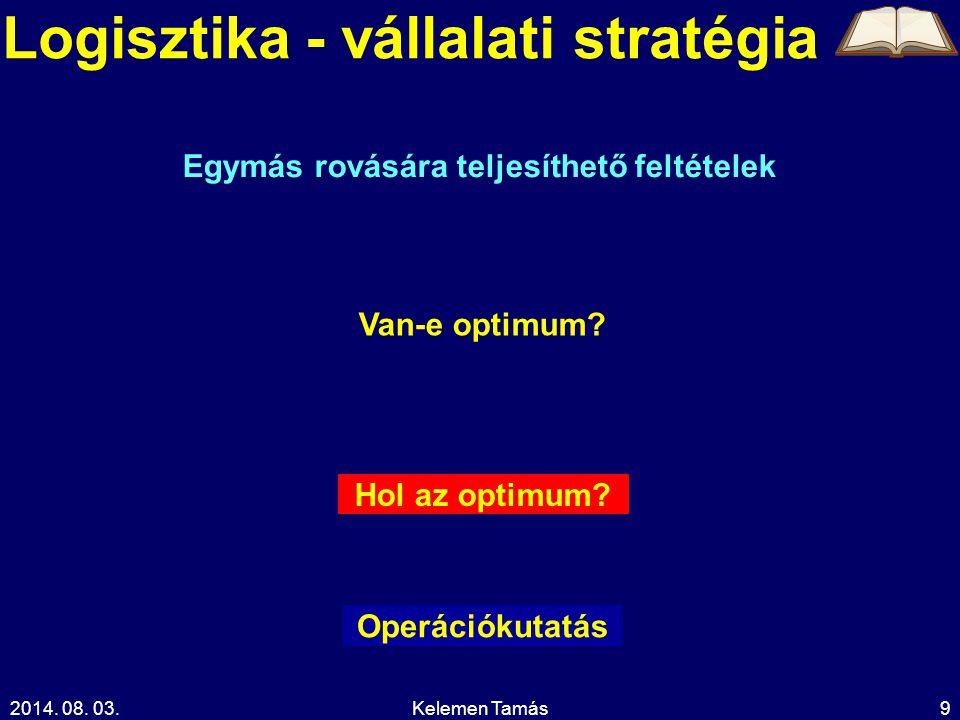 2014. 08. 03.Kelemen Tamás9 Logisztika - vállalati stratégia Hol az optimum.