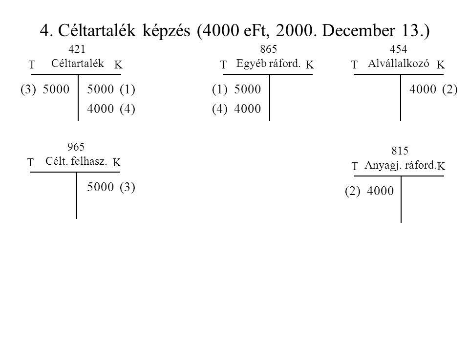 4. Céltartalék képzés (4000 eFt, 2000. December 13.) TKTK 421 Céltartalék 865 Egyéb ráford. 5000 (1)(1) 5000 TK 454 Alvállalkozó 4000 (2) TK 5000 (3)
