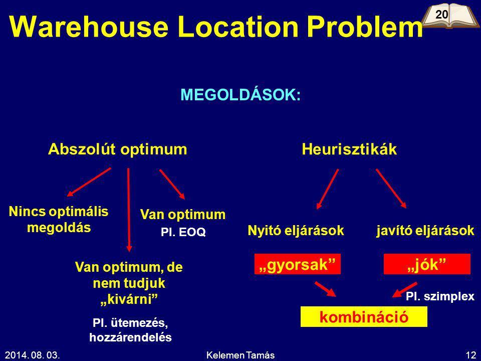 """2014. 08. 03.Kelemen Tamás12 Warehouse Location Problem MEGOLDÁSOK: Abszolút optimum Heurisztikák Van optimum, de nem tudjuk """"kivárni"""" Van optimum Nin"""