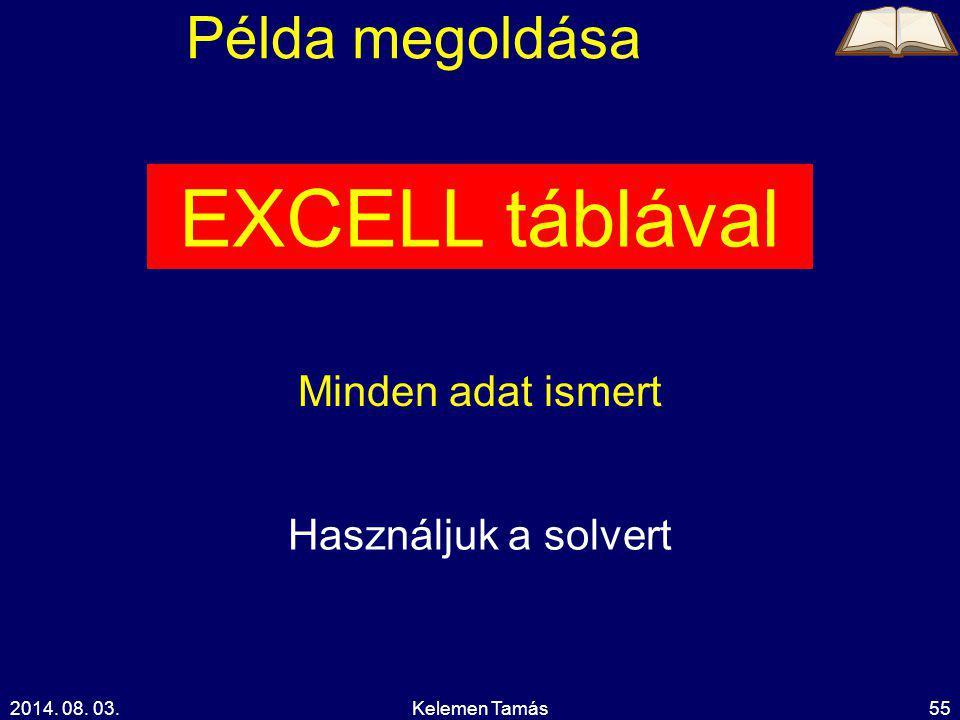 2014. 08. 03.Kelemen Tamás55 Példa megoldása EXCELL táblával Minden adat ismert Használjuk a solvert