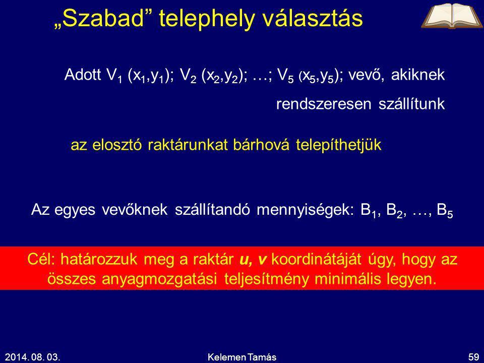"""2014. 08. 03.Kelemen Tamás59 """"Szabad"""" telephely választás Adott V 1 (x 1,y 1 ); V 2 (x 2,y 2 ); …; V 5 ( x 5,y 5 ); vevő, akiknek rendszeresen szállít"""