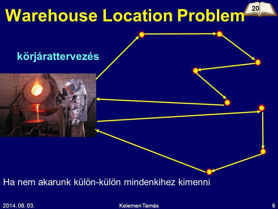 2014. 08. 03.Kelemen Tamás6 Warehouse Location Problem 20 körjárattervezés Ha nem akarunk külön-külön mindenkihez kimenni