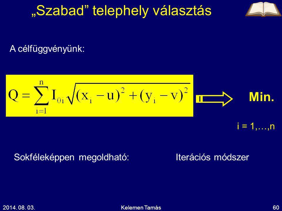 """2014. 08. 03.Kelemen Tamás60 A célfüggvényünk: i = 1,…,n Min. """"Szabad"""" telephely választás Sokféleképpen megoldható:Iterációs módszer"""