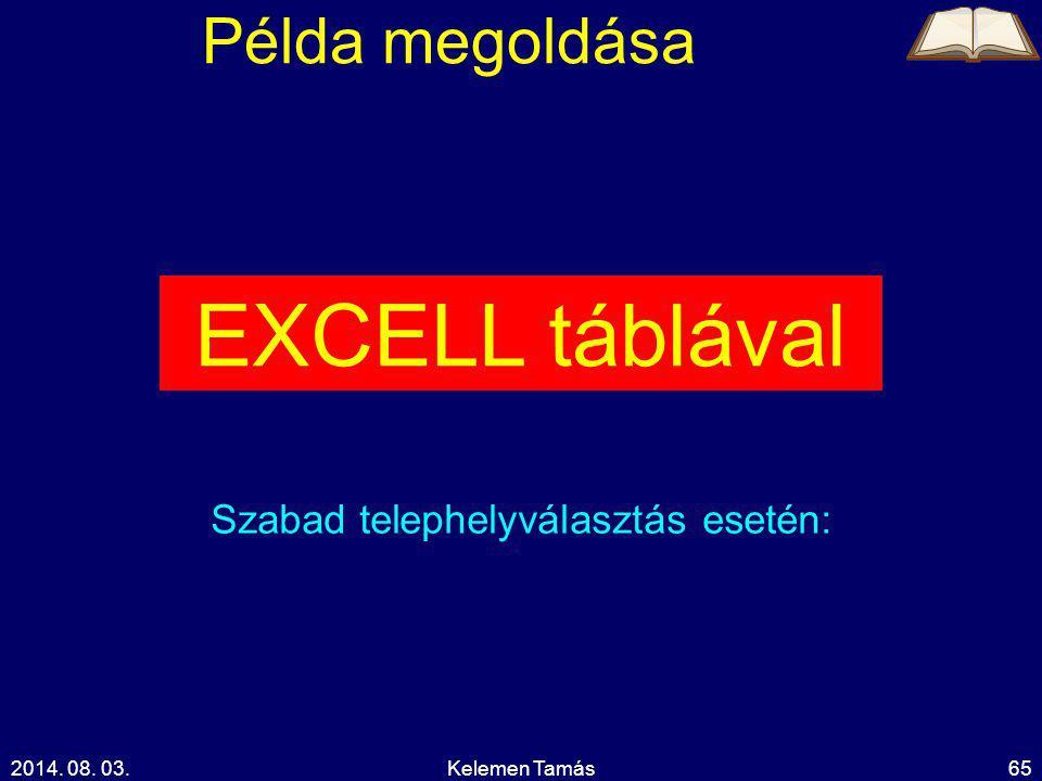 2014. 08. 03.Kelemen Tamás65 Példa megoldása EXCELL táblával Szabad telephelyválasztás esetén: