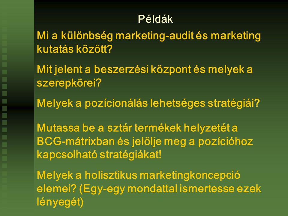 Mi a különbség marketing-audit és marketing kutatás között.