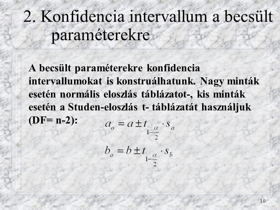 10 2. Konfidencia intervallum a becsült paraméterekre A becsült paraméterekre konfidencia intervallumokat is konstruálhatunk. Nagy minták esetén normá
