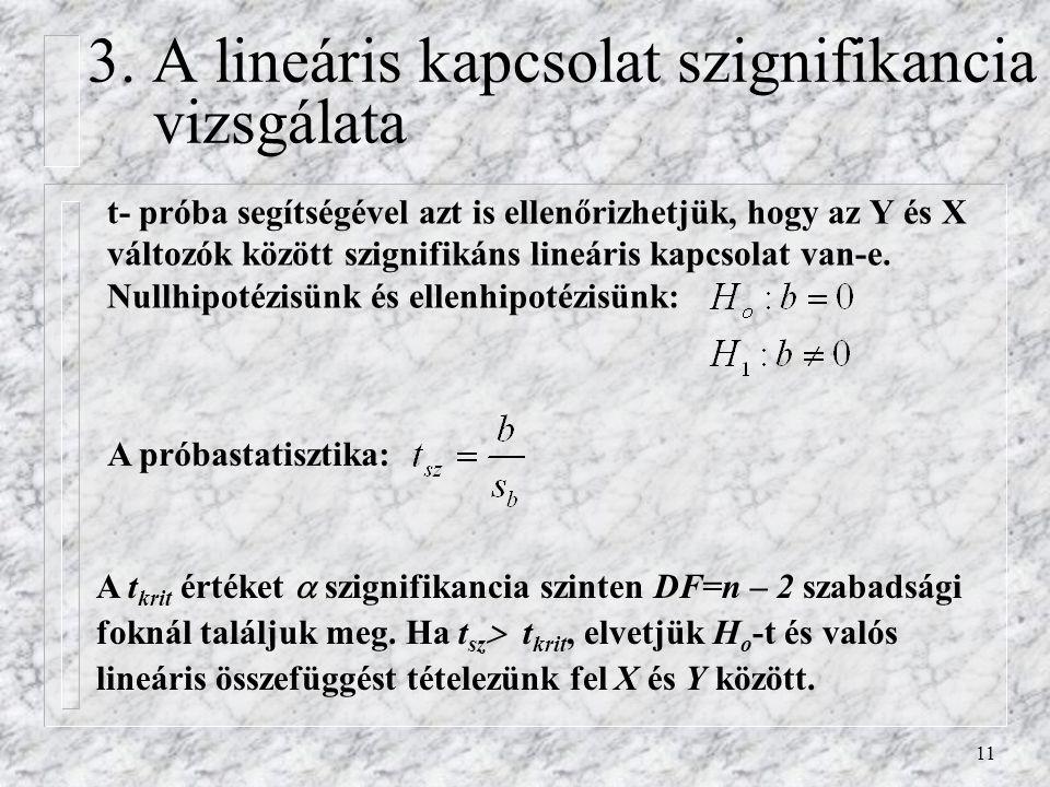 11 3. A lineáris kapcsolat szignifikancia vizsgálata t- próba segítségével azt is ellenőrizhetjük, hogy az Y és X változók között szignifikáns lineári