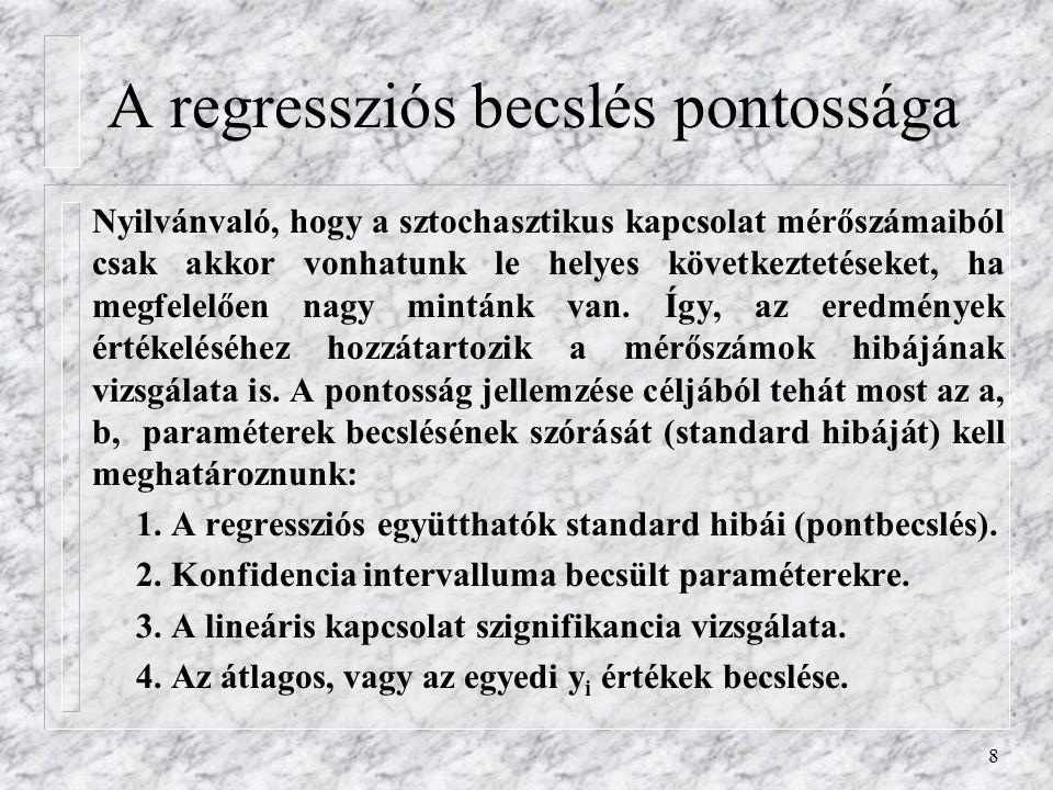 8 A regressziós becslés pontossága Nyilvánvaló, hogy a sztochasztikus kapcsolat mérőszámaiból csak akkor vonhatunk le helyes következtetéseket, ha meg