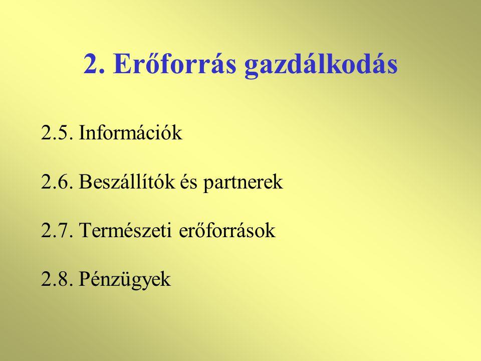 2. Erőforrás gazdálkodás 2.1. Általános rész 2.2. Emberi erőforrások 2.2.1 Személyzet kialakítása 2.2.2 Oktatás, minősítés 2.3. Infrastruktúra 2.4. Mu