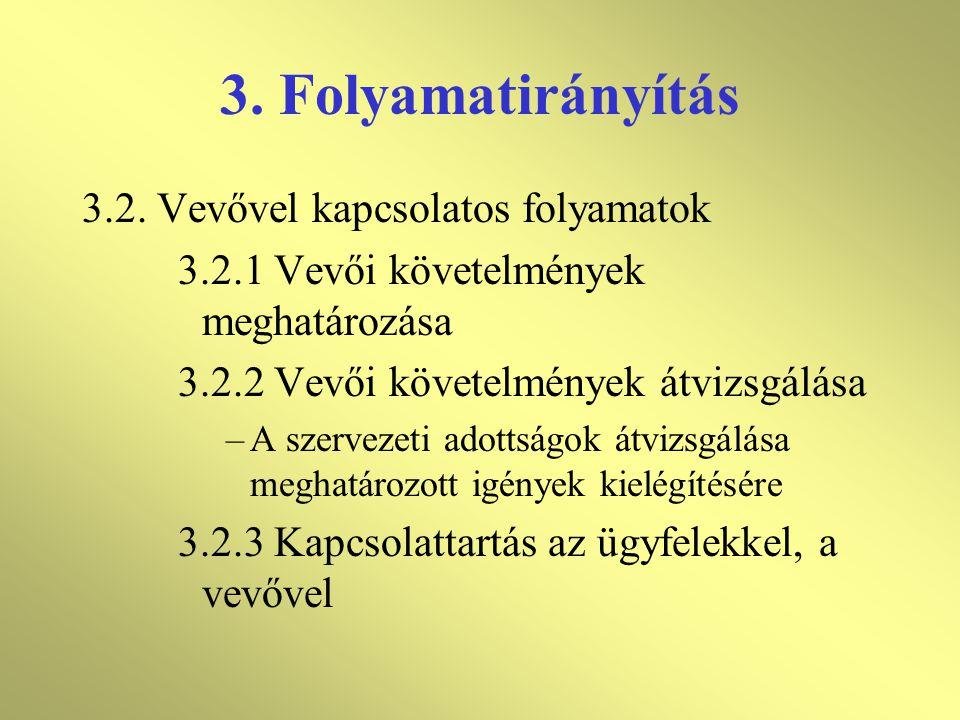 3. Folyamatirányítás Termék és/vagy szolgáltatás létrehozása 3.1. Általános követelmények