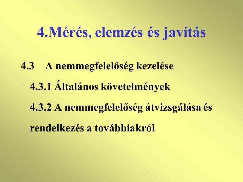 4.Mérés, elemzés és javítás 4.2.2A folyamatok mérése és figyelése 4.2.3A termék és/vagy szolgáltatás mérése és figyelése