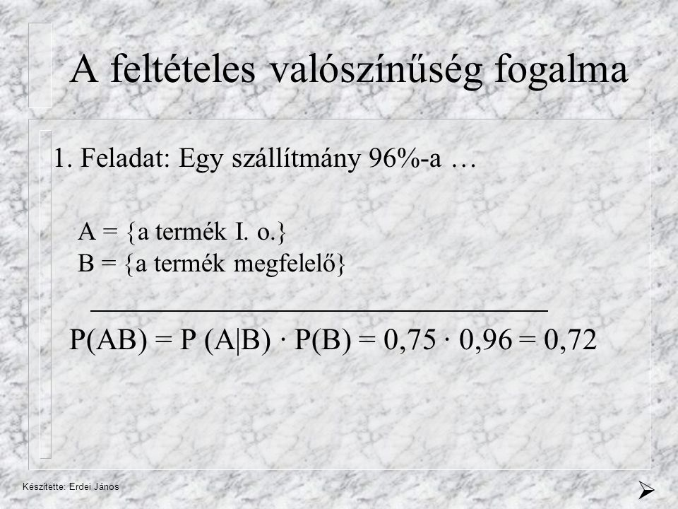 Készítette: Erdei János A feltételes valószínűség fogalma 1.