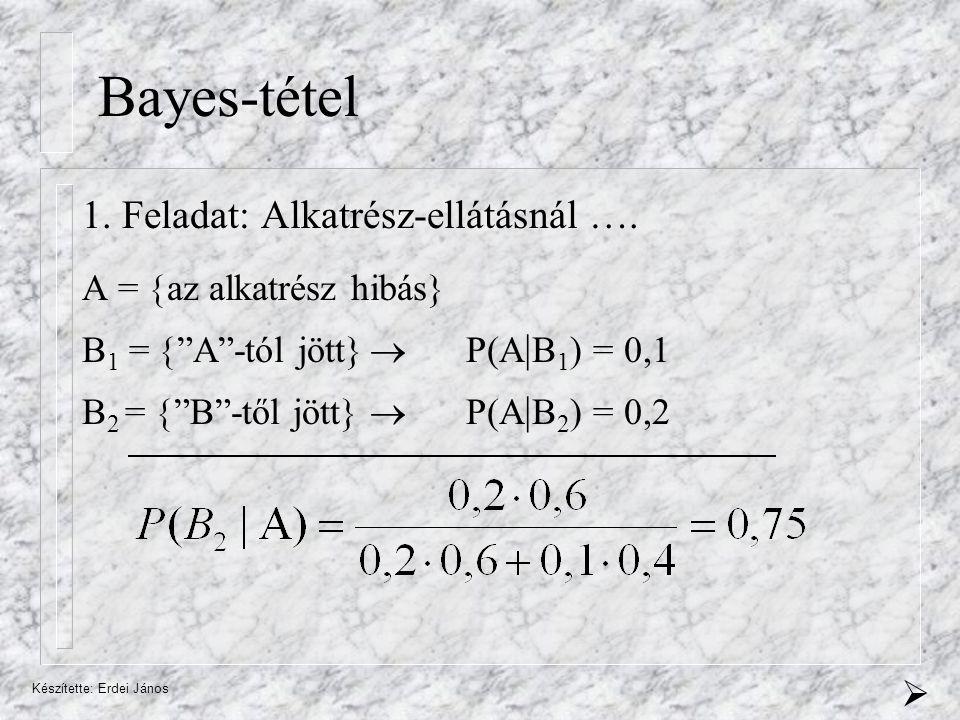 Készítette: Erdei János Bayes-tétel 1.Feladat: Alkatrész-ellátásnál ….
